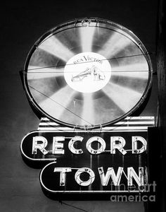 Fort Worth Texas. Record Town. Cool records and cool vintage neon sign. Photo by Sonja Quintero