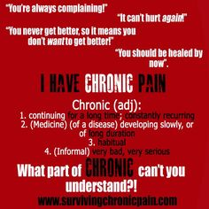"""What part of """"chronic"""" don't you understand?"""