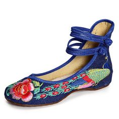 Hot-sale Floral Embroidery National Wind Chinese Knot Lace Up Wedge Heel Shoes - NewChic Mobile