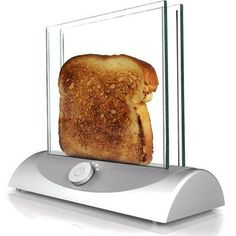 Clear toaster allows you to see when it is toasted perfectly.. Iwant one of these when I get my own house!