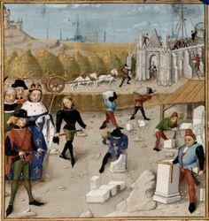 El rey Dagoberto visita las obras de construcción de Saint Denis (Robinet Testard. Les Grandes Chroniques de France, BNF, Ms Français 2609, fol.60v. s.XV)
