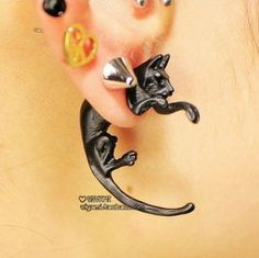 Long Tail Fox Puncture Ear Studs Womens Mens Unisex Earrings Lovely Fashion NEW Lotus Jewelry, Metal Jewelry, Body Jewelry, Jewlery, Small Earrings, Stud Earrings, Cheap Fashion Jewelry, Fashion Accessories, Punk Rock Fashion