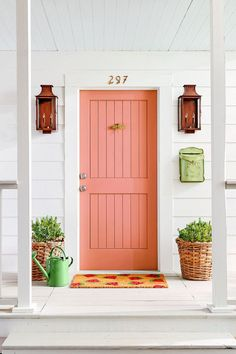Watermelon pinks and greens is the latest color combination and pattern to take over home decor. Here's how to infuse the fresh and juicy colors and print into your home and decorating. Coral Front Doors, Coral Door, Front Door Paint Colors, Painted Front Doors, Beach Style Front Doors, House Front Door, House Front Design, House Doors, Front Door Decor