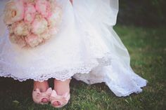 My pink wedding shoes and Maggie Sottero Emma wedding dress