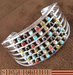 Zuni Indian Jewelry Multicolor Genuine Sterling Silver Cuff Bracelet AS32796