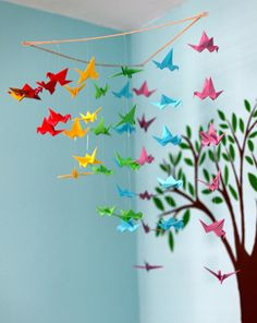 Origami Crane Mobile w/ Silver/Metal Frame... along with a bunch of other fun DIY kids room decor ideas like a hot air balloon made from a paper lantern.