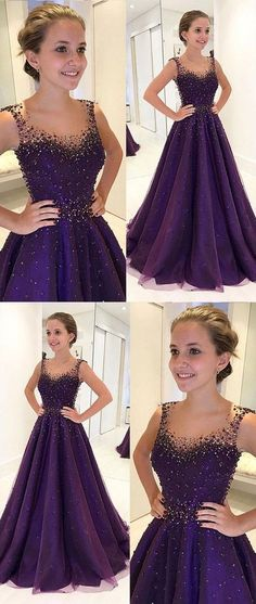 PURPLE ROUND NECK TULLE BEADS LONG PROM EVENING DRESS 0915 by RosyProm, $184.99 USD