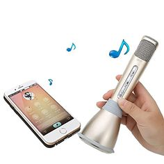 YICHUMY Bluetooth Wireless Speaker Handheld Microphone for Karaoke Singing compatible with Apple iPhone Android Smartphone Cellphones (Gold)