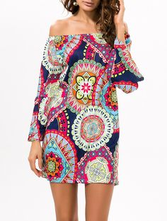 Printed Off The Shoulder Mini Dress #hats, #watches, #belts, #fashion, #style