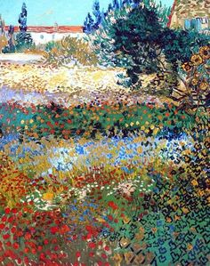 VINCENT VAN GOGH - Flowering Garden, Arles colour and vivacity, excelling Monet in my mind in this work.Arles brought out such a life of colour in his work raising him out of the artistic darkness he had been in for most of his life. Art Van, Van Gogh Art, Vincent Van Gogh, Van Gogh Pinturas, Van Gogh Paintings, Paintings Online, Flower Paintings, Fine Art, Henri Matisse