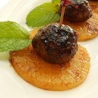 Grilled Pineapple Appetizer with Teriyaki Chicken Meatballs