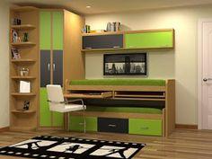 CAMAS COMPACTO CON MESA DE ESTUDIO | Dormitorios juveniles| Habitaciones infantiles y mueble juvenil Madrid