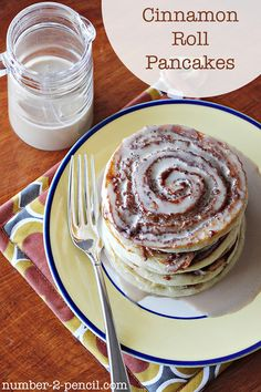 Cinnamon roll pancakes with maple coffee glaze
