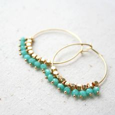 Turquoise and Gold beaded hoop earrings via great.ly. #hoopearrings #turquoise #jewelry #petitelefant