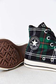 Converse Chuck Taylor All Star Green Tartan High-Top Womens Sneaker - Urban Outfitters