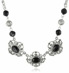 """1928 Jewelry """"Jet Essentials"""" Silver-Tone Jet and Crystal Collar Pendant Necklace, 16"""" 1928 Jewelry,http://www.amazon.com/dp/B00FF0OVQO/ref=cm_sw_r_pi_dp_I5T2sb09HTKVDXMP"""