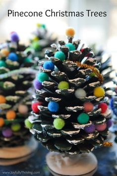 Pine Cone Christmas Trees Such a cute and simple Christmas project for kids! What a fun Christmas idea! The post Pine Cone Christmas Trees Such a cute and simple Christmas project for kids! W appeared first on Easy Crafts. Types Of Christmas Trees, Pine Cone Christmas Tree, Diy Christmas Lights, Outdoor Christmas Decorations, Christmas Centerpieces, Christmas Cactus, Simple Christmas Trees, Pine Cone Decorations, Handmade Decorations