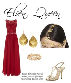 Elf Queen by fandom-fashionss on Polyvore featuring polyvore, fashion, style, Dynasty, Oscar de la Renta, Kevia, Susan Caplan Vintage, AURA Headpieces and clothing