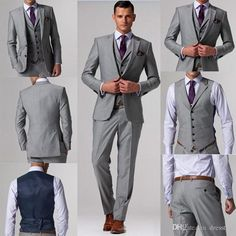 Best Selling Gray Wedding Men Suits Business Suit Bridegroom Groom Tuxedo For Men Custom Made Three Piece Jacket+Vest+Pants Skinny Suits For Men Suits For Wedding Groom From Dresstop, $99.42| Dhgate.Com