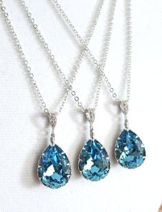 Aquamarine Swarovski Crystal Teardrop Necklace, Bridesmaid Earrings, Bridal Jewelry, Wedding Jewelry, Champagne Gold, Swarovski Crystal Drops, something blue, blue weddings, www.glitzandlove.com, by GlitzAndLove