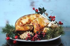 Scrumptious roast turkey chicken on platter for Thanksgiving or Christmas lunch, against shabby chic aqua blue rustic wood background, with applied retro style filters. Christmas Lunch, Christmas Goodies, Christmas Time, Christmas Stuffing, Stop Overeating, Turkey Chicken, Stuffing Recipes, Roasted Turkey, Unique Recipes