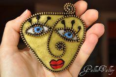 Abstract felt and zipper face brooch | Flickr - Fotosharing!