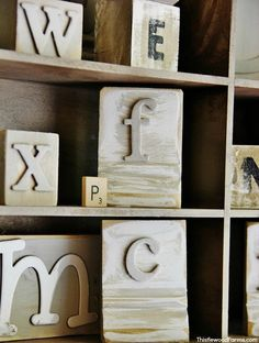 Wooden Blocks with Chipboard Letters