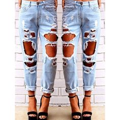 Stylish Mid Waisted Hole Design Women s Jeans ($23) ❤ liked on Polyvore featuring jeans, blue and blue jeans