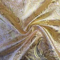 Pink / Gold Paisley Brocade Fabric