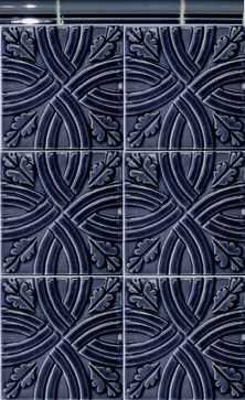 Traditional patterned tile in a bold color is so unexpected and fabulous! #prattandlarson #tile