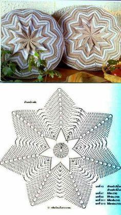 Crochet Pillow Patterns Part 4 - Beautiful Crochet Patterns and Knitting Patterns Diy Crochet Pillow, Crochet Cushion Cover, Diy Crafts Crochet, Crochet Pillow Pattern, Crochet Motifs, Crochet Cushions, Crochet Mandala, Crochet Diagram, Crochet Home