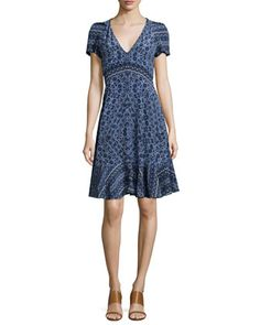 Short-Sleeve Paisley A-Line Dress, Blue Smoke by Rebecca Taylor at Neiman Marcus.