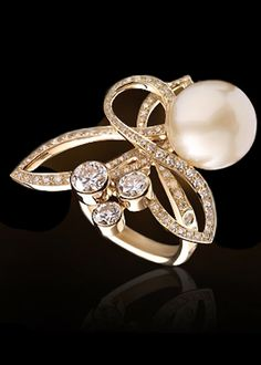 Chanel ~ 18k cultured pearl and diamonds.