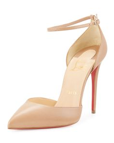 Christian Louboutin Uptown d'Orsay 100mm Red Sole Pump, Nude, Size: 7.5B/37.5EU