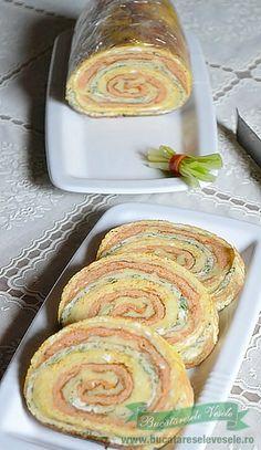 Rulada de omleta cu cascaval Appetizer Recipes, Appetizers, Romanian Food, Doughnut, Good Food, Cookies, Breakfast, Desserts, Advent