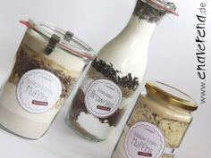Backmischungen im Glas zum Selbermachen mit Etiketten zum Ausdrucken