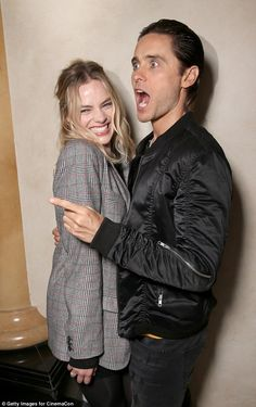 Joke's on you: Jared Leto and Margot Robbie shared a laugh with the rest of the Suicide Squad at CinemaCon on Tuesday