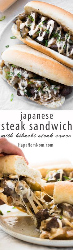 Japanese Steak Sandwich with Hibachi Steak Sauce - It's a bit of Japanese steakhouse meets a Philly cheese steak. And yes, it's as awesome as it sounds! This is like shovel into your mouth, don't care (Philly Cheese Steak Sandwich Recipes) Hibachi Steak, Tostadas, Tacos, Sandwich Recipes, Snack Recipes, Cooking Recipes, Enchiladas, Sliders, Gourmet