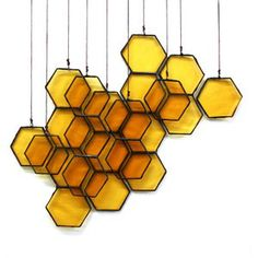 Wall Decor inspiration (via Stained Glass Honeycomb Drops on Etsy) Motif Hexagonal, Arte Peculiar, Deco Luminaire, Suncatcher, Bees Knees, Home And Deco, Mellow Yellow, Bee Keeping, My New Room