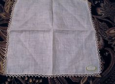 Vintage Ladies Handkerchief Tatted Lace White on White Linen Ireland NWT Label  #unbranded #handkerchief #Everyday