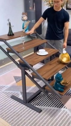 Folding Furniture, Space Saving Furniture, Metal Furniture, Diy Furniture, Household Cleaning Supplies, Cleaning Products, Wood And Metal Shelves, Modern Home Office Desk, Multipurpose Furniture