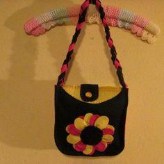 #felt handbag navyblue,pink and yellow#