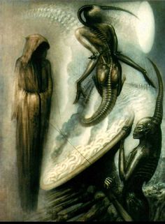 This week's posts reminded me that I have a copy of the HR Giger Tarot set published by Taschen under their Evergreen imprint in The set is Taschen's reworking of Giger & Akron's Baphomet. Chur, Xenomorph, Arte Horror, Horror Art, Art Alien, Hr Giger Art, Tarot Death, Illusion Kunst, Giger Alien