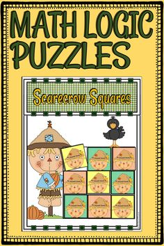 These Latin Squares math puzzles will challenge children's deductive reasoning skills and help them acquire the critical thinking needed to solve Sudoku puzzles. SCARECROW SQUARES begin with an easy, 3x3 grid appropriate for young learners. The tasks progress gradually, increasing in difficulty up to a 7x7 grid. Create a fall, critical thinking center with these brain teasers. Use them for enrichment and/or fast finishers. [kindergarten, 1st, 2nd, 3rd, 4th, 5th grades, math center, station…