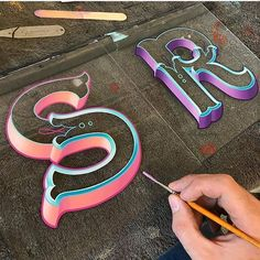 R beautiful letters . _____ Brush blends on a couple of commissions ✍ . Painted Letters, Hand Painted Signs, Monogram Letters, Big Letters, Types Of Lettering, Brush Lettering, Lettering Design, Vintage Lettering, Logo Design