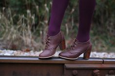 LACE Leather oxford shoes / leather lace up boots / by BaliELF, $150.00