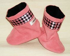 Pink Suede and Houndstooth Baby Boots