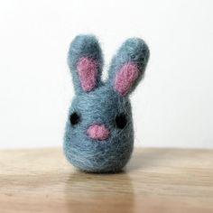 Needle Felted Green Blue Bunny Rabbit Miniature Soft Art Handmade Figure by kmwatkins https://www.etsy.com/listing/223673575/needle-felted-green-blue-bunny-rabbit?ref=shop_home_active_2