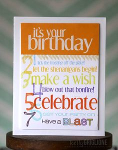 What a fun birthday card! Kelly combined our Shenanigans and Ka-Boom sets to create this cool card. www.cas-ualfridaysstamps.com  #casfridays #cards #ka-boom #shenanigans