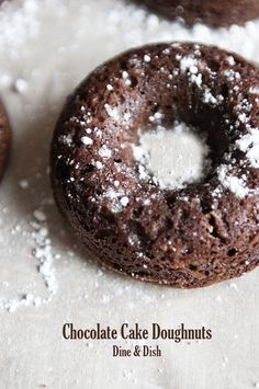 Baked Chocolate Cake Doughnuts from @Kristen @DineandDish